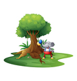 A young monkey with balloons near the big tree vector image vector image