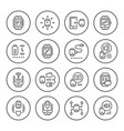 set round line icons of smart watch vector image