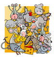 cartoon mice and rats with cheese vector image