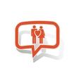 Love couple message sticker orange vector image