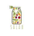 salad in jar with fork design template vector image