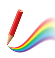 Background with red pencil painting rainbow vector image