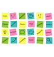 business set of sticky notes messages vector image