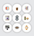 Flat icon oneday set of cappuccino beer with vector image
