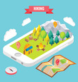 hiking in a park isometric objects on mobile phone vector image
