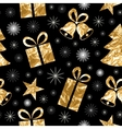 Seamless pattern with gold foil textured bells vector image