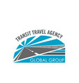 transit travel agency road icon vector image
