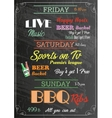 Restaurant Food Menu Design with Chalkboard vector image