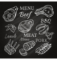 Retro Meat Menu Icons On Chalkboard vector image