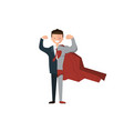 a happy face businessman super business isolated vector image