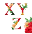 Flower colorful alphabet vector image