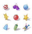 lowpoly christmas tree decorations vector image