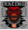 Motor racing demon - emblem for t-shirt vector image