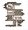 restaurant menu in the brick wall vector image