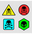 skull sticker icon set vector image