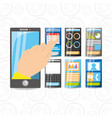 smartphone in the hand with different electronic vector image