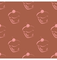 Tile brown pattern with pink cupcakes vector image