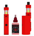 vape devices set vaping cherry juice in bottle vector image