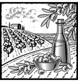 Olive harvest black and white vector image