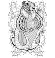 Hand drawn artistic Marmot Groundhog in flowers vector image