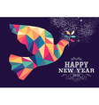 Happy new year 2016 dove triangle hipster color vector image