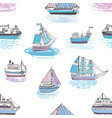 seamless pattern with doodle ships yachts boats vector image