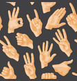 seamless pattern with various hands gestures dumb vector image