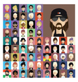 Set of people icons in flat style with faces 08 a vector image