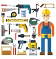 Construction man and building tools set vector image