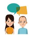 cartoon guy and girl bubble speech talking vector image