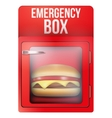 Red emergency box with hamburger vector image