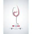 wine glass heart concept background vector image