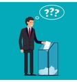 Businessman vote at ballot box vector image
