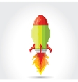 flat pixel rocket on white background vector image