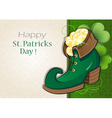Leprechaun shoe with gold coins vector image
