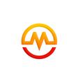 letter M symbol round logo vector image