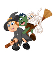 Little children and ghost fly with broom vector image