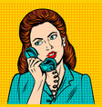 woman with phone pop art style vector image