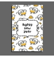 Happy new year greeting card with griffin and vector image