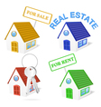 3D Real Estate Business Icon Set vector image