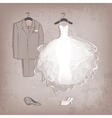 bride dress and groom suit on grungy background vector image