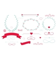 Set of Wedding Graphic Elements with Arrows Hearts vector image