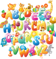 Alphabet with funny pictures for children vector image