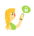 cartoon woman holding smartphone protected from vector image
