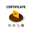 Certificate icon in different style vector image