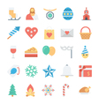 Christmas and Easter Colored Icons 2 vector image