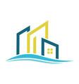 line building wave logo vector image