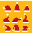 red Santa hat icon set vector image
