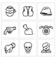 Set of criminal Biker Club Icons Biker vector image