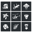 Set of The Vietnam War Icons Soldier vector image